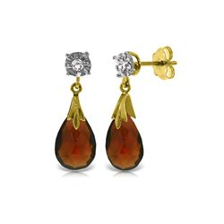 Genuine 6.06 ctw Garnet & Diamond Earrings 14KT Yellow Gold - REF-37K4V
