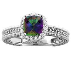 1.60 CTW Mystic Topaz & Diamond Ring 14K White Gold - REF-45M3A