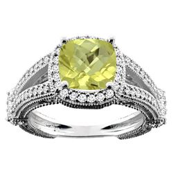 4.10 CTW Lemon Quartz & Diamond Ring 14K White Gold - REF-54N2Y