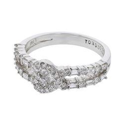 Natural 0.80 CTW Diamond & Baguette Ring 18K White Gold - REF-113H4W