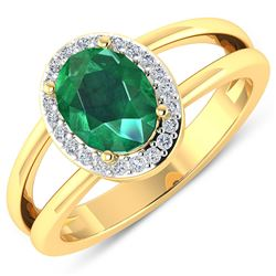 Natural 1.87 CTW Zambian Emerald & Diamond Ring 14K Yellow Gold - REF-88W9X