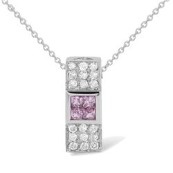 Natural 0.62 CTW Pink Sapphire & Diamond Necklace 18K White Gold - REF-45Y2N
