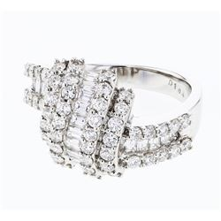 Natural 1.69 CTW Diamond & Baguette Ring 18K White Gold - REF-227H7W