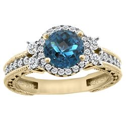 1.46 CTW London Blue Topaz & Diamond Ring 14K Yellow Gold - REF-77N9Y