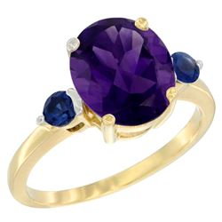 2.64 CTW Amethyst & Blue Sapphire Ring 10K Yellow Gold - REF-24R5H