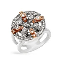Natural 0.82 CTW Diamond Ring 14K Two Tone Rose Gold - REF-144M9F
