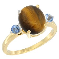 2.54 CTW Tiger Eye & Blue Sapphire Ring 10K Yellow Gold - REF-22H4M