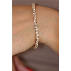 Natural 6.08 ctw Diamond Eternity Tennis Bracelet 18K Rose Gold - REF-512A5R