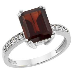3.70 CTW Garnet & Diamond Ring 14K White Gold - REF-41N5Y