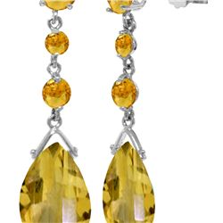Genuine 13.2 ctw Citrine Earrings 14KT White Gold - REF-39Z3N