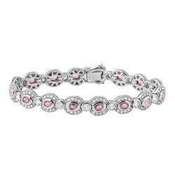 Natural 7.62 CTW Pink Sapphire & Diamond Bracelet 14K White Gold - REF-458H3W