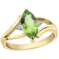 1.14 CTW Peridot & Diamond Ring 10K Yellow Gold - REF-23K2W
