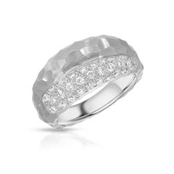 Natural 0.51 CTW Diamond Ring 18K White Gold - REF-114H3W
