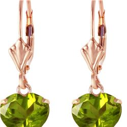 Genuine 3.25 ctw Peridot Earrings 14KT Rose Gold - REF-29H2X