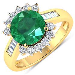 Natural 3.18 CTW Zambian Emerald & Diamond Ring 14K Yellow Gold - REF-157N7R