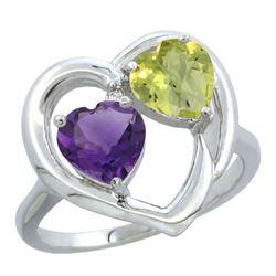 2.61 CTW Diamond, Amethyst & Lemon Quartz Ring 10K White Gold - REF-23M5A