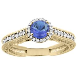 1.08 CTW Tanzanite & Diamond Ring 14K Yellow Gold - REF-63V4R