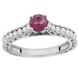 0.90 CTW Rhodolite & Diamond Ring 14K White Gold - REF-62R6H