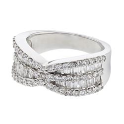 Natural 1.42 CTW Diamond & Baguette Ring 18K White Gold - REF-236H7W
