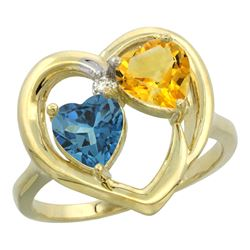 2.61 CTW Diamond, London Blue Topaz & Citrine Ring 14K Yellow Gold - REF-34M2A
