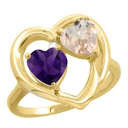 1.91 CTW Diamond, Amethyst & Morganite Ring 10K Yellow Gold - REF-26F5N