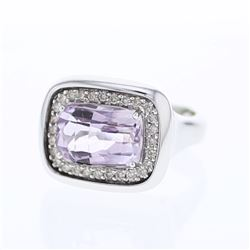 Natural 5.63 CTW Amethyst & Diamond Ring 18K White Gold - REF-126X9T
