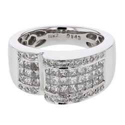 Natural 1.43 CTW Princess Diamond Ring 18K White Gold - REF-234M9F