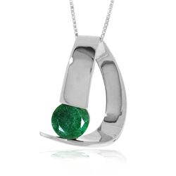 Genuine 1 ctw Emerald Necklace 14KT White Gold - REF-58N4R