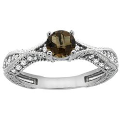 0.81 CTW Quartz & Diamond Ring 14K White Gold - REF-67A8X