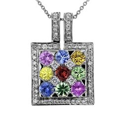 Natural 2.92 CTW Multi-Sapphire & Diamond Necklace 18K White Gold - REF-101H7W