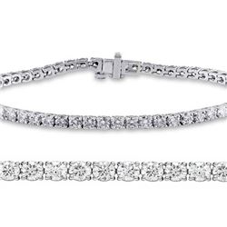 Natural 3.01ct VS2-SI1 Diamond Tennis Bracelet 18K White Gold - REF-236X6F
