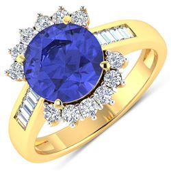 Natural 3.48 CTW Tanzanite & Diamond Ring 14K Yellow Gold - REF-143W7X