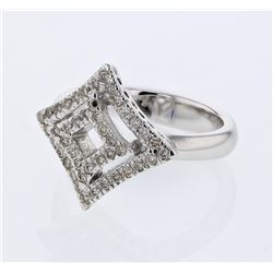 Natural 0.38 CTW Diamond Ring 14K White Gold - REF-68Y4N