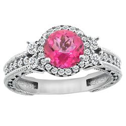 1.46 CTW Pink Topaz & Diamond Ring 14K White Gold - REF-77R4H