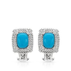 Natural 2.98 CTW Turquoise & Diamond Earrings 14K White Gold - REF-79X2T