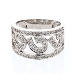 Natural 0.40 CTW Diamond Ring 18K White Gold - REF-78Y3N