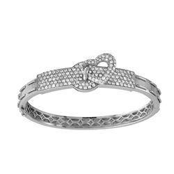 Natural 3.16 CTW Diamond Bangle 14K White Gold - REF-345H6W