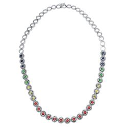 Natural 7.69 CTW Multi-Sapphire & Diamond Necklace 14K White Gold - REF-572Y4N