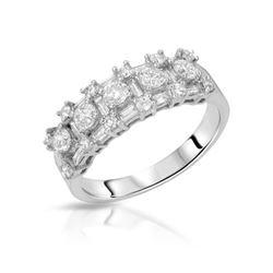 Natural 1.16 CTW Diamond & Baguette Band Ring 18K White Gold - REF-171X2T