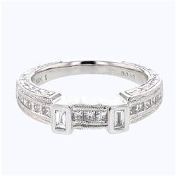 Natural 0.41 CTW Baguette & Princess Diamond Band Ring 14K White Gold - REF-90Y9N