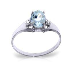 Genuine 0.76 ctw Aquamarine & Diamond Ring 14KT White Gold - REF-23M2T