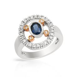 Natural 1.02 CTW Sapphire & Diamond Ring 18K Two Tone Gold - REF-115R2K