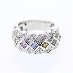 Natural 1.92 CTW Multi-Sapphire & Diamond Ring 14K White Gold - REF-120R6K