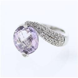 Natural 8.68 CTW Amethyst & Diamond Ring 18K White Gold - REF-132Y3N