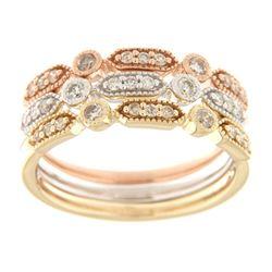 Natural 0.45 CTW Diamond Ring 14K Tri-Color Gold - REF-83H7W