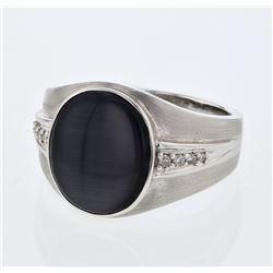 Natural 6.15 CTW Cat's Eye & Diamond Ring 14K White Gold - REF-80H3W