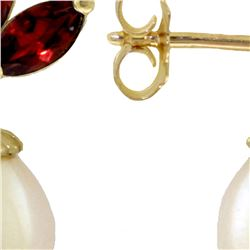 Genuine 9.5 ctw Garnet & Pearl Earrings 14KT White Gold - REF-31A2K