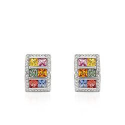 Natural 5.36 CTW Multi-Sapphire & Diamond Earrings 18K White Gold - REF-153H2W