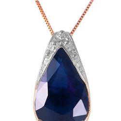 Genuine 4.65 ctw Sapphire Necklace 14KT Rose Gold - REF-44X7M