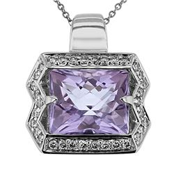 Natural 7.28 CTW Amethyst & Diamond Necklace 14K Gold - REF-92X7T